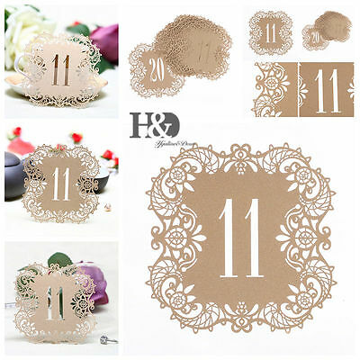 Rice Gold Shimmer Laser Cut Table Number Cards 11-20 Wedding Supply Centerpiece