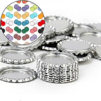 Creative 10Pc Flattened Flat Linerless Chrome Tone Bottle Crowns No Liners DIY