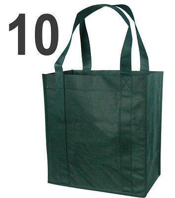 10 Blank Reusable Grocery Shopping Tote Bags - Green