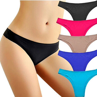 Sexy Women Invisible Underwear Thongs Cotton Gas Seamless Crotch Briefs Lingerie