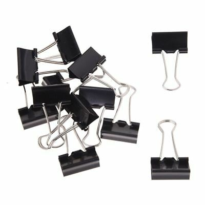 12 Pcs Office Files Documents Metal Black Binder Clips 25mm Width CP