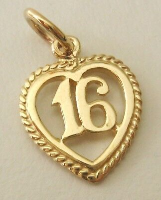 SOLID  9K  9ct  YELLOW  GOLD  16  BIRTHDAY  CHARM/PENDANT