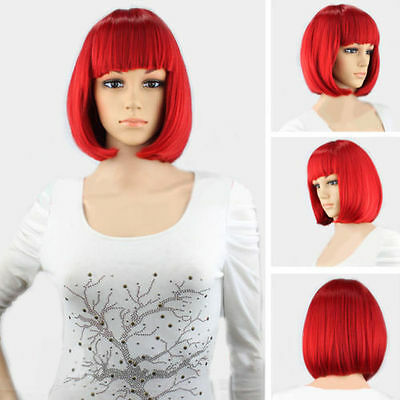 BOB Ladies Cheveux courts Cosplay Wig lumineuse droite pleine Perruque Party Wig