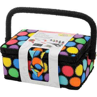 Sewing Basket Kit Accessories Polka Dot Small Craft Tool Handle Storage Supply