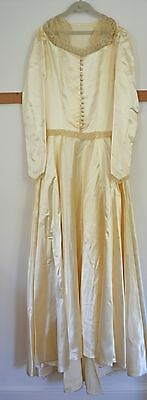Heavenly 1930S - 1940S Satin Wedding Dress With Lace Ss2