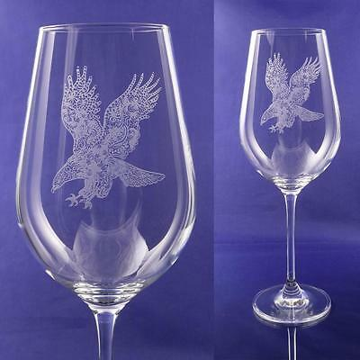 Eagle Gift Engraved Fine Wine Glass: Bird of Prey, Falconry, King of Birds Gift