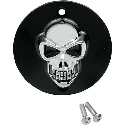 3-D Skull Points Cover Drag Specialties Black with Chrome Skull 30-0185BC