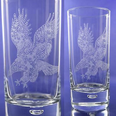Eagle Gift Engraved Highball Glass: Bird of Prey/Falconry/King of Birds Gift