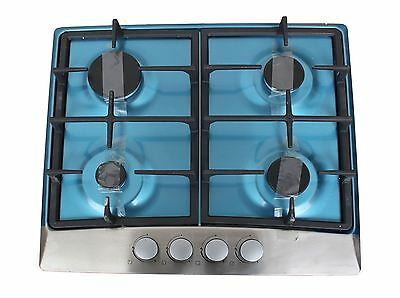 60cm Stainless Steel Gas Hob 4 Burner Built in Cast iron pan Supports