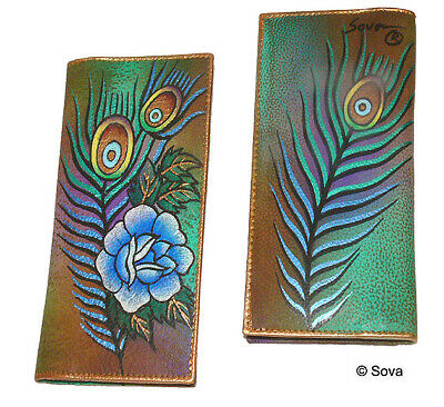 Sova Hand Painted Fine Art Leather Check Book Cover