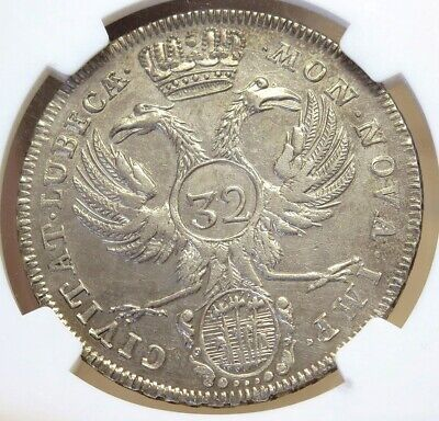 1758 Jjj Silver Lubeck German State 32 Schilling Coin Ngc About Uncirculated 58