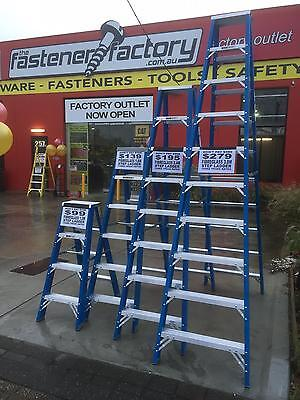150kg Trade Rated Step Ladder 2.4m 8ft Double Sided Fibreglass Industrial Union