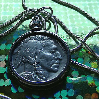 "Classic 1936 Buffalo Nickel of the USA on a 28"" 925 Sterling Silver Round Chain"
