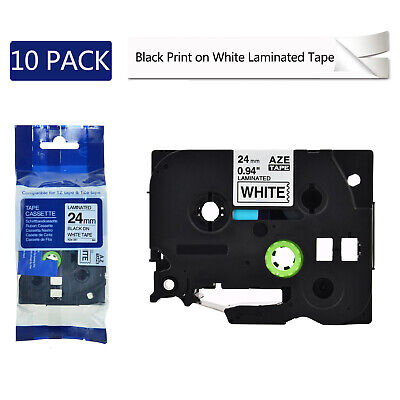 """10PK 24mm TZ251 TZe251 Black on White Label Tape For Brother P-touch PT-2300 1"""""""