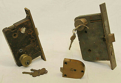 Antique Architectural Salvage Brass Door Locks With Keys Skillman Ruswin