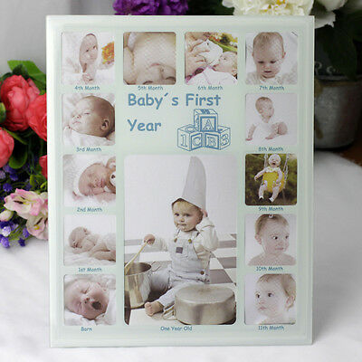Baby Boy First Year Photo Frame  | Newborn | Baby Shower | Keepsake