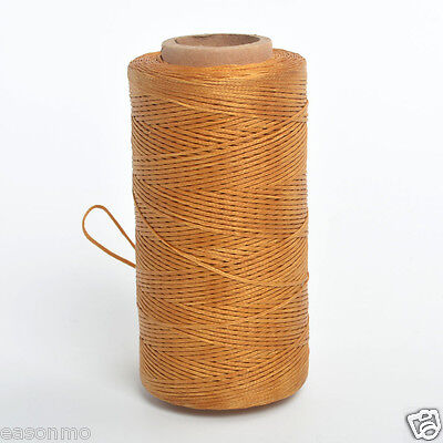 NEW 260m/284yard Gold 1mm Flat Leather Sewing Waxed Waxing Polyester Thread UK