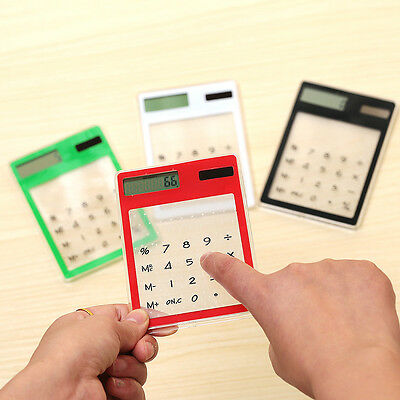 Transparent Slim Solar Powered Mini Credit Card Pocket Calculator Touch Screen