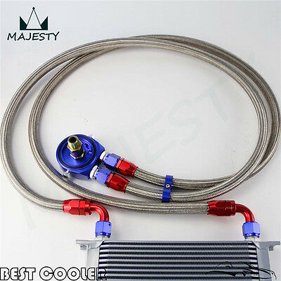 19 Row AN10 Universal Engine Oil Cooler + Blue Filter Adapter Kit For Japan Car