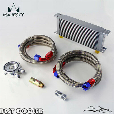 16 Row AN10 Universal Engine Oil Cooler +Silver Filter Adapter Kit For Japan Car