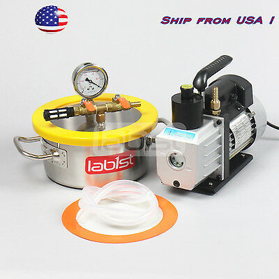 0.8 Gallon Stainless Steel Degassing Chamber and 3CFM  Vacuum Pump Kit