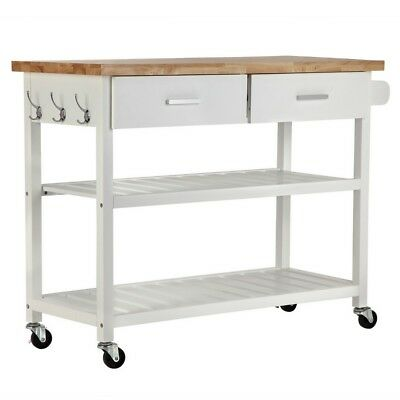 Homegear Deluxe Kitchen Storage Cart Island w/ Rubberwood Cutting Block on Wheel