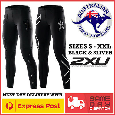 Mens 2XU Black & Silver Compression Pants Tights Gym Sports Skins