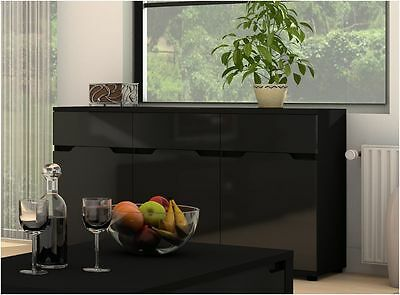Aspire High Gloss Black Sideboard Chest Cabinet Storage Unit  P980ASK6