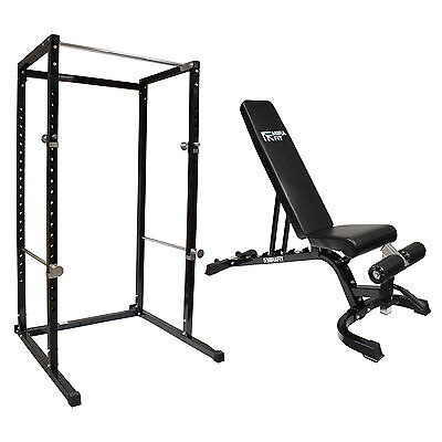 MIRAFIT HD Power Cage & Adjustable FID Weight Lifting Bench Home Gym Press Rack