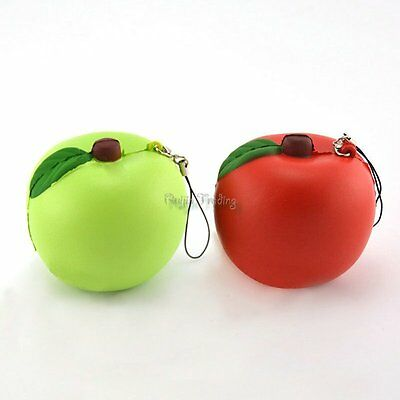 1PCS Random Squishy Red / Green Apple Slow Rising Bread Phone Straps Charms