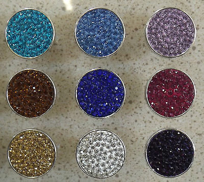 Flat Coloured Crystals 18mm Noosa Style Snap Button