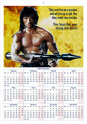 Rambo: First Blood Part 2 - 2017 A4 CALENDAR **BUY ANY 1 AND GET 1 FREE OFFER**