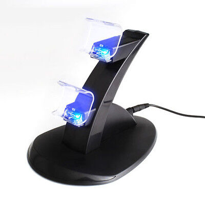 USB Cable + LED Dual Charging Dock Station Stand for PS4 Game Controller Charger