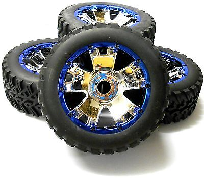 BS501-001 HI501-001 1/5 Scale Monster Truck Wheels Tyres x 4 Chrome Plastic 24mm