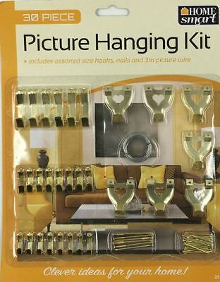 Top Quality Picture Hanging Kit Hooks Nails Wire Brass 30 Pcs Assorted Hook Set