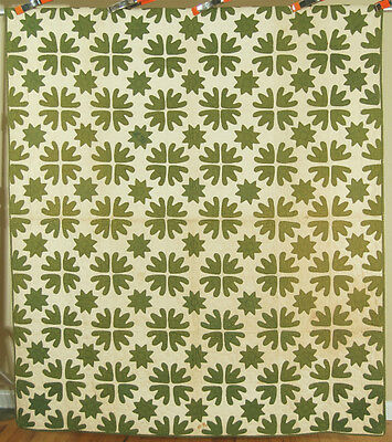 GLORIOUS Vintage Early Green Star Applique Antique Quilt c. 1870 ~UNUSUAL DESIGN