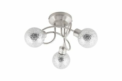 Modern Brushed Nickel Multi 3 Arm Spiral Ceiling Light Fitting Glitter Shade NEW
