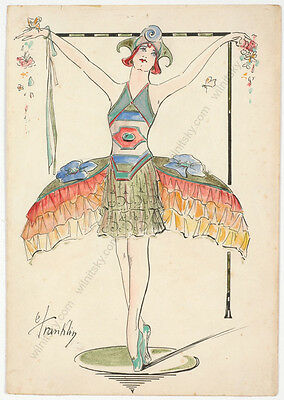"""""""Art Nouveau Costume"""" by C .Franklin, watercolor, early 20th century"""