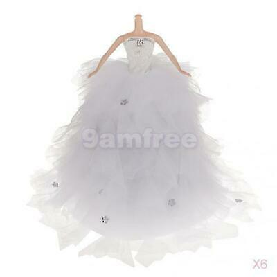 6x Fashion Princess Bride Wedding Party Gown Dress for Barbie Doll Accessories