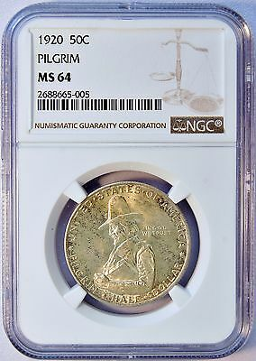 1920 50C US Pilgrim Commemorative Silver Half Dollar Coin (NGC MS 64 MS64) LV830
