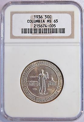 1936 US 50C Columbia Silver Half Dollar Comm Coin (NGC MS 65 MS65) LV#108