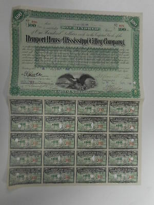 Collis P. Huntington Signed Bond,Newport News and Mississippi Valley Company
