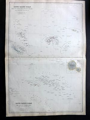 Blackie 1860 Antique Map. South Pacific Ocean