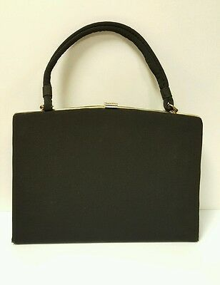 Classy Vintage 40s-50s Snap Close Dress Purse / Satchel, Black w Gold Tone Metal