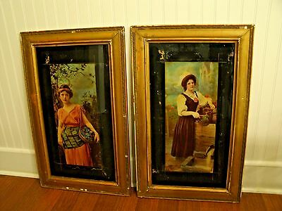 Set of 2 Large Antique 1902 ULLMAN MFG Co Young Lady Prints with Original Frames