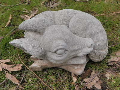 "Vintage 9"" Long Cement Curled Deer Fawn Sleeping Garden Concrete Statue"