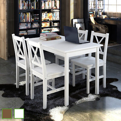 #bNew Quality Wooden Dining Table and 4 Chairs Set Kitchen Furniture White/Brown
