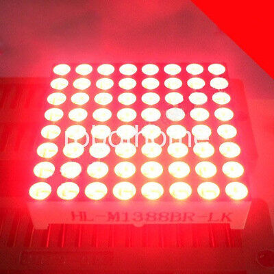 8*8 LED Dot Matrix 3mm Common Anode Red Display Screen