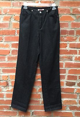 Vintage 80s 90s Sparkly Jeans Pants Womens Black Glitter High Waist (770)