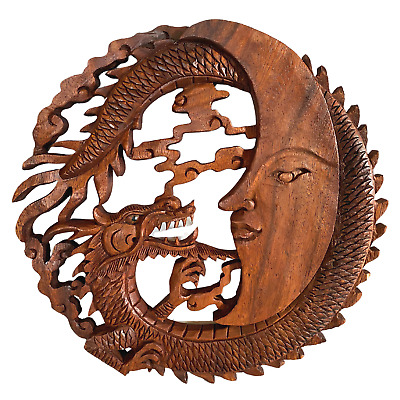 Dragon & Crescent Moon Wall Art Plaque Panel Hand Carved Balinese Wood carving